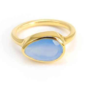 Blue Chalcedony Ring - Bezel set ring - Birthstone Ring - Gold Ring - TearDrop Shaped Ring - Gemstone Ring - Stacker Ring - Bridesmaid ring