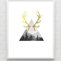 Gold Printable Poster INSTANT DOWNLOAD Antler Gold Foil Wall Art Geometric Art Print Woodland Nursery Printable Forest Fall Wall Decor