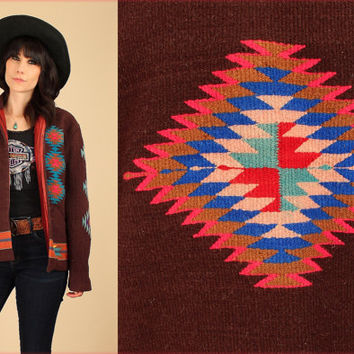 ViNtAgE 40's 50's Wool NAVAJO Jacket Native American Southwestern Chimayo Indian Blanket Coat Large L/XL