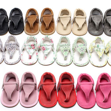 Hongteya Summer infant Flip Flops Floral sandals 11 colors Hot sale Pu leather Baby moccasins Rubber sole Baby sandals 0-24 M