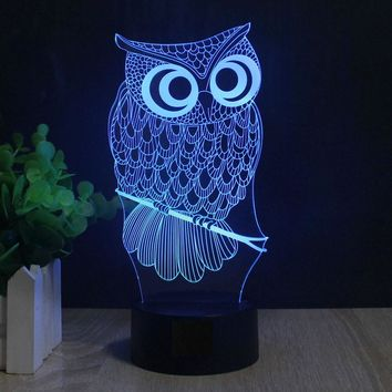 Wise Owl on Perch 3D LED Lamp