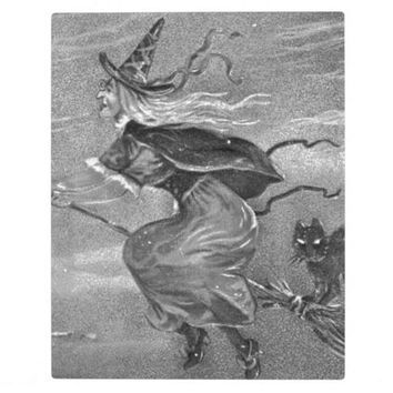 Monochrome Witch on Broom Plaque