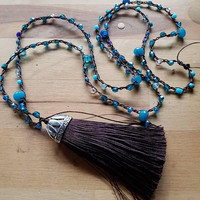 Turquoise and expresso brown beaded tassel crochet long boho gypsy necklace