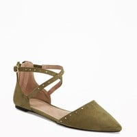 Sueded Strappy D'Orsay Flats for Women | Old Navy