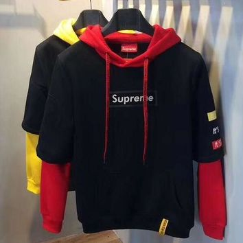 Supreme Fashion Long Sleeve Hoodie Pullover Sweatshirt Top Sweater