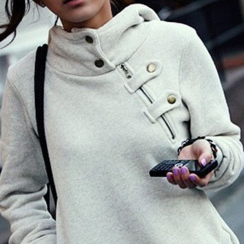 Leisure Solid Color Hooded Buttons High Collar Hoodie Jacket Coat