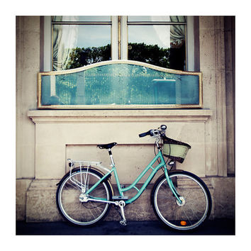 mint green paris bicycle photograph whimsical by oohprettyshiny