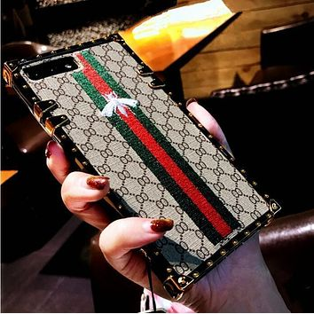 GUCCI Fashion Bee Embroidery iPhone Phone Cover Case For iphone 6 6s 6plus 6s-plus 7 7