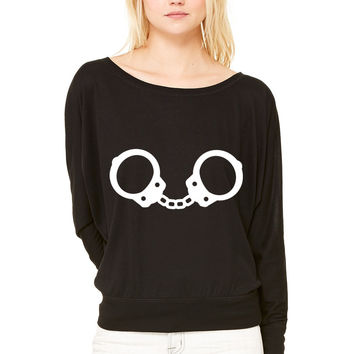 Handcuffs WOMEN'S FLOWY LONG SLEEVE OFF SHOULDER TEE