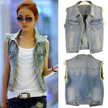 Light Blue Women Fashion Sleeveless Coat Jacket Denim Jean Vest Waistcoat  A_L = 1930273028