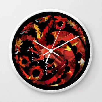 Game of Thrones wall clock, Targaryen dragon, Unique Valentine's gift idea, Adventure is out there, decorative clock mixed media collage art