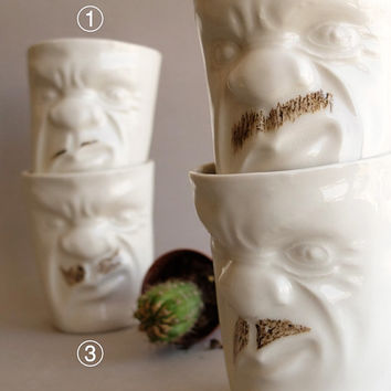 White Ceramic Coffee Cup , Funny Cup , Coffee Lovers , Mustache Cup , Grumpy Face Cup Set , Quirky Gift , Ceramics Pottery SCULPTUREinDESIGN