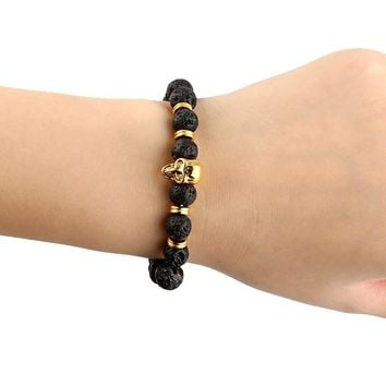 AZIZ New Design Yoga Jewelry 8mm Blue Sea Sediment Stone Bead with Bronze Gold Color Skull Bead Bracelets For Women Men