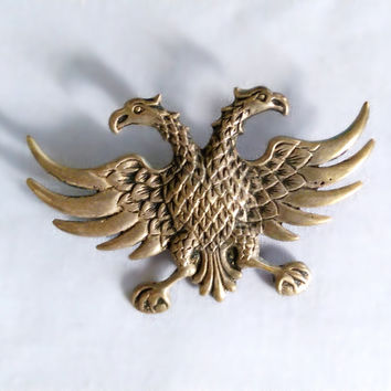 Russian silver double-headed eagle medallion pin, heraldry, cosplay, halloween, military, costume design, 800 silver, uniform, fraternity