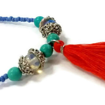 Layer necklace boho jewelry, red tassel necklace, seed bead necklace, long tassel necklace, long turquoise necklace, tassel pendant necklace
