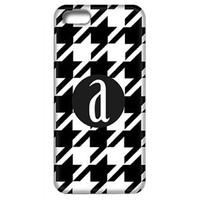 Houndstooth Phone Case with Initial-Black and White