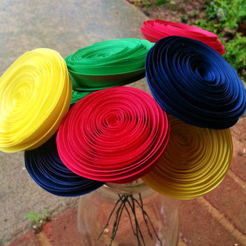 Paper Flower Bouquet - 8 Primary Colors of Red, Blue Green and Yellow - Handmade Paper Flowers for Brides, Weddings, Showers, Birthdays
