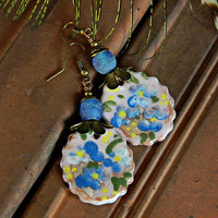 Blue Ceramic earrings Romantic Bohemian earrings Boho Statement earrings African glass earrings Flower earrings Artisan ceramic charm
