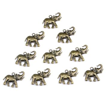 20 Pieces Lucky Elephant with Trunk Up Charms Findings for Pendant Necklace Making 30mm X 35mm