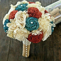 Large Bridal Bouquet :: Red White and Blue Twisted Rose and Bali Sola Wood Flowers :: See Kati for Pic :: Cover stems in Burlap and Lace
