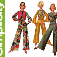 1960s Jumpsuit Pattern Bust 32 Simplicity 8506 Mod Evening Jumpsuit with Bolero Vest and Sash Split Sleeves Womens Vintage Sewing Patterns