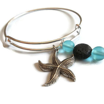 Aromatherapy Jewelry -Starfish Charm Bracelet -Sea Glass Jewellery -Lava Rock Diffuser -Oil Diffuser Bracelet -Beach Bangle Bracelet