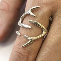 Sterling Silver Whitetail Deer Antler Ring