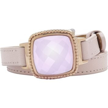 Ela Stainless Steel Rose Gold Plated Cushion Italian Marble Agate Pink Leather Wrap Bracelet