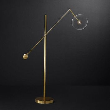Gold Glass Globe Mobile Lever Floor Lamp