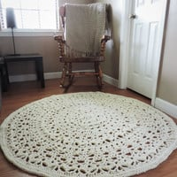 Crochet Rug, Ecru Natural Beige Doily, Lace floor mat, Round Circle Area carpet, nursery throw rug, shabby home, country cottage chic carpet