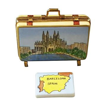 Barcelona Spain Suitcase  Limoges Porcelain Boxes