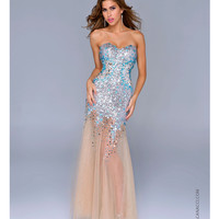 Nina Canacci 2014 Prom Dresses - Turquoise & Silver Sequin Mermaid Silhouette