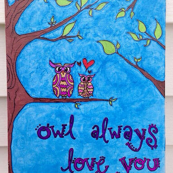 Shop Owl Canvas Painting on Wanelo