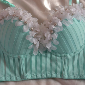 Mint Green, Flowers, and Pearls 34C RAVE BRA