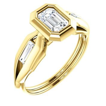 0.75 Ct Emerald Ring 14k Yellow Gold