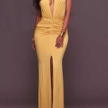 Yellow Pleated Cleavage Mermaid High Waisted Prom Evening Party Maxi Dress