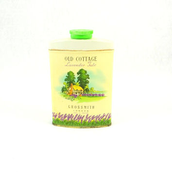 Vintage Grossmith London Old Cottage Lavender Talc Tin with Talc in Container