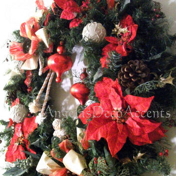 Large Christmas Wreath 32 by 32, LOCAL DELIVERY ONLY, Angel, Cording, Velour Poinsettias, Red Glass Finial and Ivory Plastic Ball Ornaments