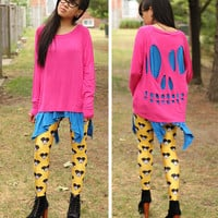Pink Skull Cut-Out Long Sleeve Shirt - O/S