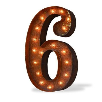 """24"""" Number 6 (Six) Sign Vintage Marquee Lights"""