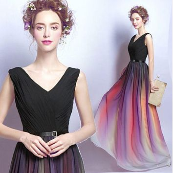 DCCKJ1A Gradient Chiffon Evening Dress Long Style Tube Top Party Moderator V Collar Dresser Dress Up