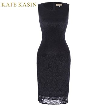 Kate Kasin Women Sexy Embroidered Black Lace Tunic Party Evening Special Occasion Bridesmaid Mother of Bride Bodycon Dress