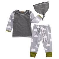 New 2016 baby boy clothing set clouds long sleeve printing t-shirt+pants+hat  fashion baby boys clothes newborn infant 3pcs suit