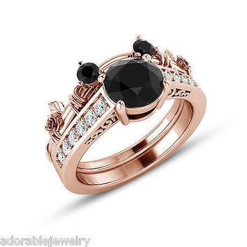 Rose Gold On .925 Sterling Black & White CZ Mickey Mouse Wedding Bridal Ring Set
