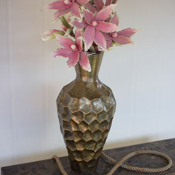 Large Hammered Metal Vase - Antique Brass Finish - Tall