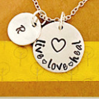 Nurse Necklace, Nurse Hand Stamped Necklace, RN Necklace , Live Love Heal Necklace Nurse's Day Nursing School Gift, Medical Field