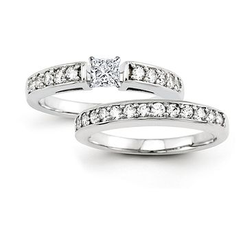 Certified 1.00 Ct. Princess Cut Diamond Bridal Engagement Ring Set in 14K White Gold