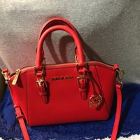 New Michael Kors Red Saffiano Leather Zip Shoulder Bag Hobo Tote Zip Satchel