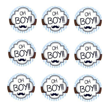 Oh Boy Seal Paper Stickers, Light Blue, 1-Inch, 24-Count