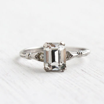 Antique Sterling Silver Crystal Ring - Art Deco 1940s Size 8 1/2 Faux Diamond Engagement Style Designer MH Jewelry / Emerald Cut